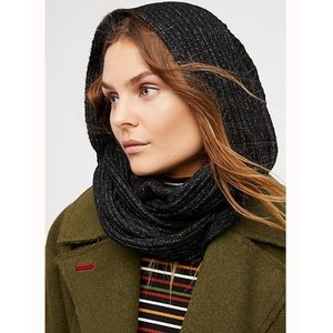 Free People Black Hooded Wrap Knit Scarf